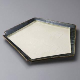 千段織部角変形皿 大 和食器 変形皿 業務用 約26cm 和食 和風 前菜 焼き物 揚げ物 刺身 お造り