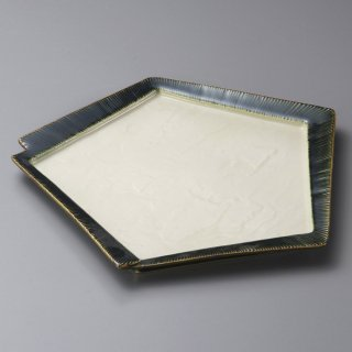 千段織部角変形皿 中 和食器 変形皿 業務用 約18.5cm 和食 和風 前菜 焼き物 揚げ物 刺身 お造り