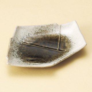 織部かすみ結び7.0皿 和食器 変形皿 業務用 約21cm 和食 和風 前菜 焼き物 揚げ物 刺身 お造り