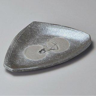 黒窯変ホタモチ8.5変形皿 信楽焼 和食器 変形皿 業務用 約25.5cm 和食 和風 前菜 焼き物 揚げ物 刺身 お造り