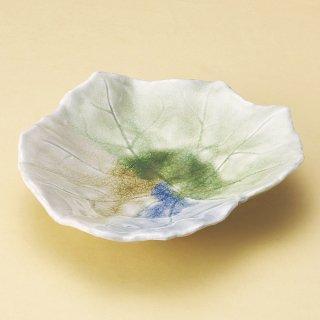 三色ビードロふよう葉皿 中 和食器 変形皿 業務用 約22.7cm 和食 和風 前菜 焼き物 揚げ物 刺身 お造り