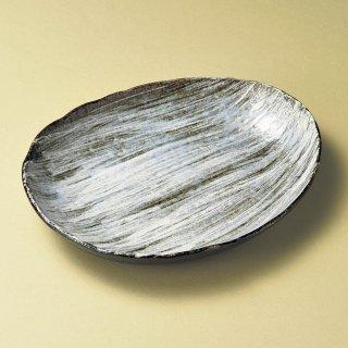 白刷毛ダルマ中皿 和食器 楕円皿 業務用 約25.5cm 和食 和風 天ぷら 揚げ物 焼き物 パスタ