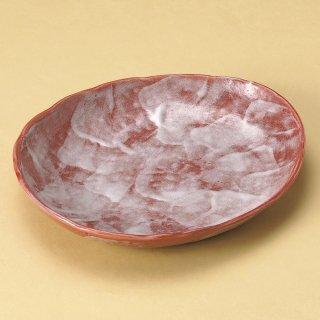 赤彩花シリーズダ円中皿 和食器 楕円皿 業務用 約25.5cm 和食 和風 天ぷら 揚げ物 焼き物 パスタ