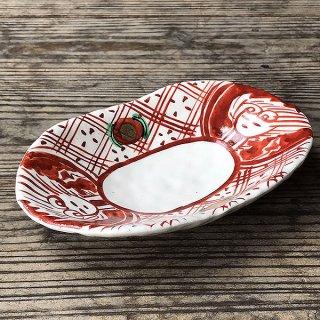 赤絵間取双子皿 和食器 楕円皿 業務用 約18.3cm 和食 和風 天ぷら 揚げ物 焼き物 パスタ
