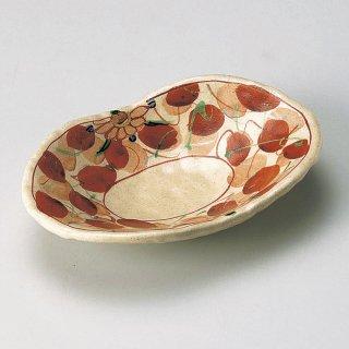赤絵木の葉双子皿 和食器 楕円皿 業務用 約18.3cm 和食 和風 天ぷら 揚げ物 焼き物 パスタ