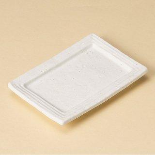 白マット水晶リム型銘々皿 和食器 串皿・のり皿 業務用 約16cm 和食 和風 焼き鳥 揚げ物 創作料理 海苔 ホテル 天ぷら 和食レストラン 焼き鳥屋