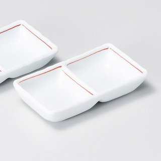 赤ライン二品盛 和食器 仕切皿(2品皿・3品皿) 業務用 約11.2cm 和食 和風 焼肉店 たれ ニンニク 岩塩 お通し 漬物 前菜 小料理屋 懐石料理 プレート
