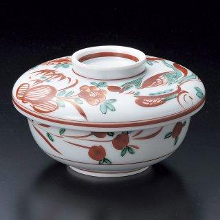 万歴花蝶懐石煮物碗 和食器 蓋向・円菓子碗 業務用 約11.4cm 和食 和風 蒸し物 煮魚