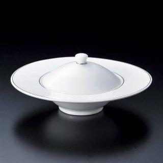 ホワイト18cm蓋物 和食器 蓋向・円菓子碗 業務用 約17.4cm 和食 和風 蒸し物 煮魚
