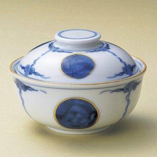 青丸紋寿煮物碗 和食器 蓋向・円菓子碗 業務用 約12.4cm 和食 和風 蒸し物 煮魚