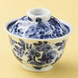 染付草花紋煮物碗 和食器 蓋向・円菓子碗 業務用 約12cm 和食 和風 蒸し物 煮魚