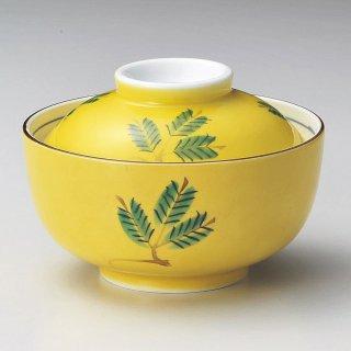 手描黄釉木の葉円菓子碗 和食器 蓋向・円菓子碗 業務用 約11.8cm 和食 和風 蒸し物 煮魚