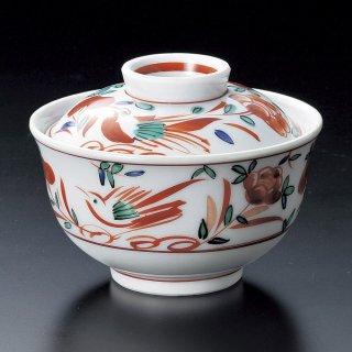 赤絵万歴花鳥懐石煮物碗 和食器 蓋向・円菓子碗 業務用 約11.4cm 和食 和風 蒸し物 煮魚