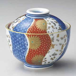 染錦小煮物碗 和食器 蓋向・円菓子碗 業務用 約10cm 和食 和風 蒸し物 煮魚