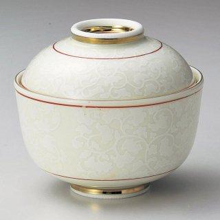 白唐草小煮物碗 和食器 蓋向・円菓子碗 業務用 約10.5cm 和食 和風 蒸し物 煮魚