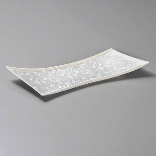 銀彩モザイク変形11.0皿 和食器 付出皿 業務用 約34cm 和食 和風 突出 前菜 先付 小料理屋 漬物盛り合わせ 長角皿 居酒屋 創作料理