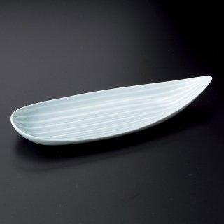 笹型トレー 青磁 和食器 付出皿 業務用 約27cm 和食 和風 突出 前菜 先付 小料理屋 漬物盛り合わせ 長角皿 居酒屋 創作料理