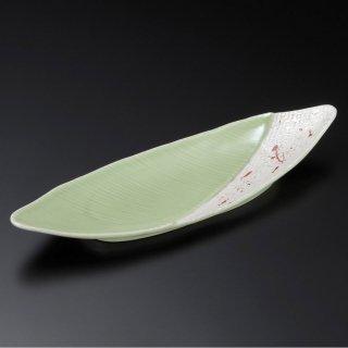 緑釉赤散らしラスター笹型長皿 和食器 付出皿 業務用 約33cm 和食 和風 突出 前菜 先付 小料理屋 漬物盛り合わせ 長角皿 居酒屋 創作料理
