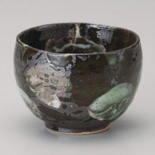 黒釉緑タタキいっぷく碗 和食器 一服碗・ゆったり碗・汲み出し 業務用 約10×7.2cm 和風 和菓子屋 和カフェ お茶 スープ