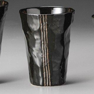 モダン手折タンブラー 黒 和食器 フリーカップ 業務用 約8×10.5cm 和バル 喫茶店 アイスコーヒー 居酒屋