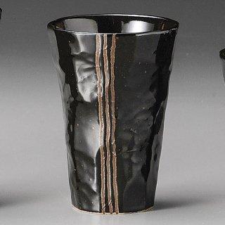 モダン手折一口ビール 黒 和食器 フリーカップ 業務用 約7×10cm 和バル 喫茶店 アイスコーヒー 居酒屋