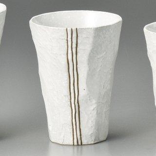 モダン手折タンブラー 白 和食器 フリーカップ 業務用 約8×10.5cm 和バル 喫茶店 アイスコーヒー 居酒屋