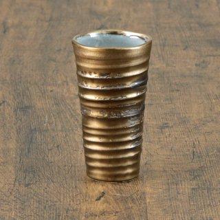 ゴールド刷毛目ビールカップ 和食器 フリーカップ 業務用 約8.5cm 和バル 喫茶店 アイスコーヒー 居酒屋