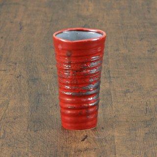 赤釉刷毛目ビールカップ 和食器 フリーカップ 業務用 約8.5×15.3cm 和バル 喫茶店 アイスコーヒー 居酒屋