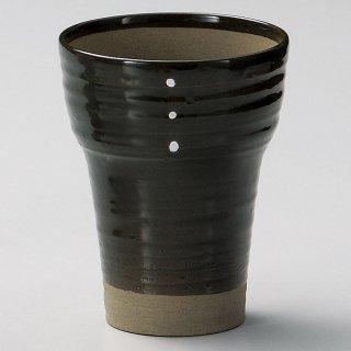 広口ヌリ分ドットオリベビール 和食器 フリーカップ 業務用 約9.8×9.8×12cm 和バル 喫茶店 アイスコーヒー 居酒屋