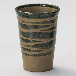 土物ウズフリーカップグリン 和食器 フリーカップ 業務用 約8×11cm 和バル 喫茶店 アイスコーヒー 居酒屋