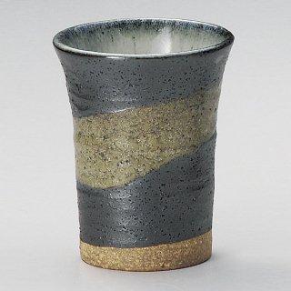 黒銀彩雲ミドルカップ 和食器 フリーカップ 業務用 約7.8×9.8cm 和バル 喫茶店 アイスコーヒー 居酒屋