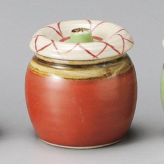 花紋ミニツボ 赤 和食器 カメ・薬味入れ 業務用