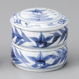 古染桔梗二段重 中 和食器 蓋物・段重 業務用 約9.6cm 和食 和風 和菓子 煮物 漬物 花見