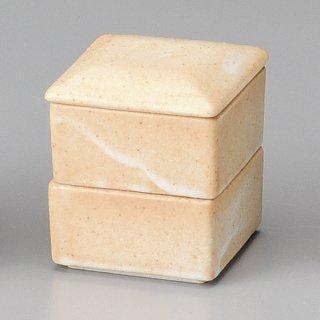 志野角二段重 和食器 蓋物・段重 業務用 約7cm 和食 和風 和菓子 煮物 漬物 花見
