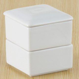 白角二段重 和食器 蓋物・段重 業務用 約7cm 和食 和風 和菓子 煮物 漬物 花見