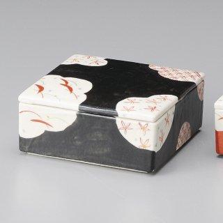 黒格子 陶箱 大 和食器 蓋物・段重 業務用 約15.5cm 和食 和風 和菓子 煮物 漬物 花見