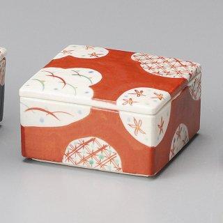 赤格子 陶箱 小 和食器 蓋物・段重 業務用 約11.5cm 和食 和風 和菓子 煮物 漬物 花見