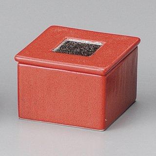 ゆず赤結晶プラチナ角型蓋物 和食器 蓋物・段重 業務用 約7.5cm 和食 和風 和菓子 煮物 漬物 花見