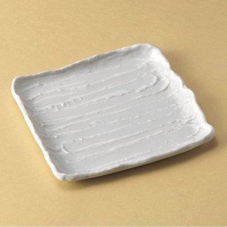 白荒削ぎ22cm角皿 和食器 角皿(中) 業務用 約22cm 和食 和風 和皿 中皿 揚げ物 串物 刺身 旅館