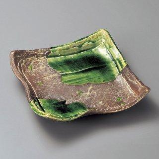 さび釉ヒワ流し正角8.0皿 和食器 角皿(中) 業務用 約24.3cm 和食 和風 和皿 高級 お造り 揚げ物