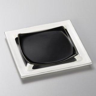 プラチナ四つ切高台皿 和食器 角皿(中) 業務用 約21cm 和食 和風 和皿 高級 お造り 揚げ物