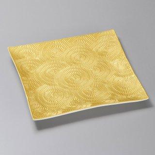 金彩渦彫正角皿 和食器 角皿(中) 業務用 約23.3cm 和食 和風 和皿 高級 お造り 揚げ物