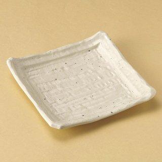 粉引そぎ正角皿 和食器 角皿(中) 業務用 約21.5cm 和食 和風 和皿 中皿 揚げ物 串物 刺身 旅館