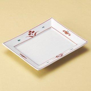 赤絵角皿 和食器 角皿(中) 業務用 約18cm 和食 和風 和皿 高級 お造り 揚げ物