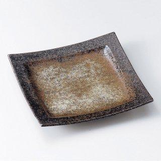黒千段角皿 大 和食器 角皿(中) 業務用 約21cm 和食 和風 和皿 中皿 揚げ物 串物 刺身 旅館