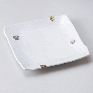 金銀彩飛び石正角7.5寸皿 和食器 角皿(中) 業務用 約22cm 和食 和風 和皿 高級 お造り 揚げ物