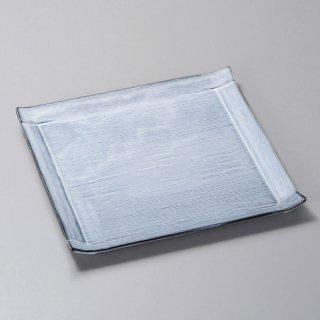 青カスミ角皿 大 和食器 角皿(中) 業務用 約24cm 和食 和風 和皿 中皿 揚げ物 串物 刺身 旅館