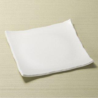 白結晶ちぎり正角皿 白い器 和食器 角皿(中) 業務用 約21.5cm 和食 和風 中皿 揚げ物 串物 刺身