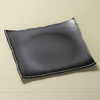 銀黒ちぎり正角皿 黒い器 和食器 角皿(中) 業務用 約21.5cm 和食 和風 和皿 中皿 揚げ物 串物