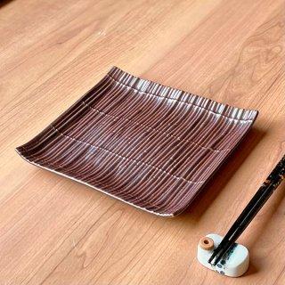スダレ鉄砂浜なし正角皿 和食器 角皿(中) 業務用 約18.5cm 和食 和風 和皿 中皿 揚げ物 串物 刺身